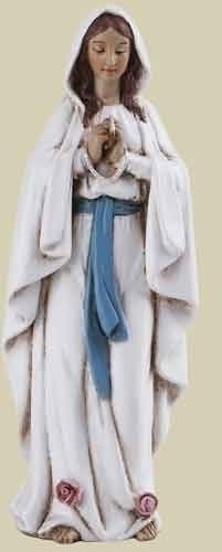 Statue Mary Our Lady Lourdes 4 inch Resin Painted