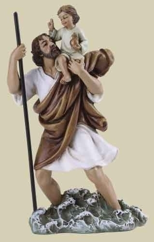 Statue St Christopher 4 inch Resin Painted