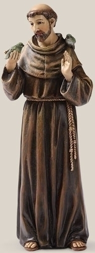 Statue St Francis Assisi 6.25 inch Resin Painted