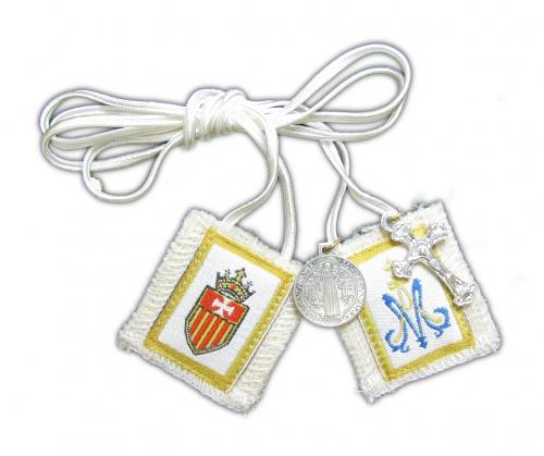 Scapular White Our Lady of Mercy La Merced 100% Wool