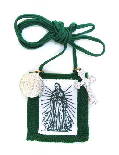 Scapular Green Immaculate Heart of Mary Long Loop 100% Wool