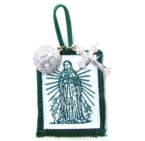 Scapular Green Immaculate Heart of Mary Short Loop 100% Wool
