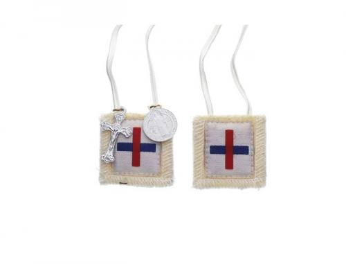 Scapular White Blessed Trinity Red & Blue Cross 100% Wool