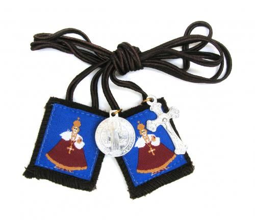 Scapular Brown Jesus Infant Child of Prague 100% Wool