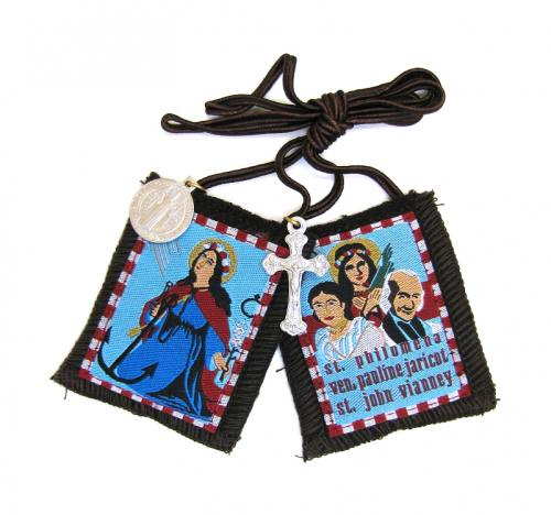 Scapular Brown St Philomena Brown Cord 100% Wool