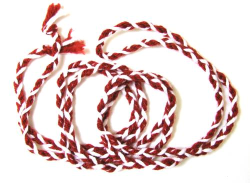 Cord St. Philomena Striped Red & White Cord 100% Wool