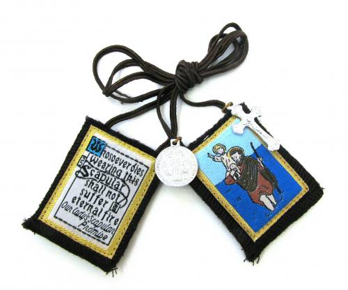 Scapular Brown Carmel St Christopher 100% Wool