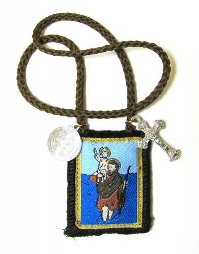 Scapular Brown St Christopher Short Loop 100% Wool